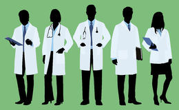 doctors-silhouette-five-both-male-female-wearing-lab-coats-some-have-stethoscopes-54058213